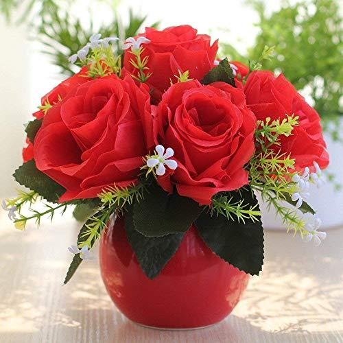 Jnseaol Kunstblumen Sehr Realistische Keramiktopf Künstliche Blume Hochzeit Party Küche Familie Garten Fensterbank Dekoration DIY Topf Rot -05