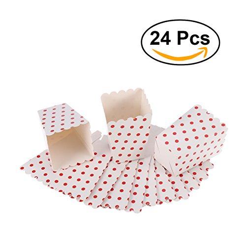 NUOLUX Popcorn Boxen,Candy Container Kartons Papiertüten, 12 x 6 cm, 24 Stück (Roter Punkt) Hochzeit Bevorzugungen Papiertüten