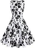 OWIN Women's Vintage 1950's Floral Spring Garden Picnic Dress Party Cocktail Dress (XL, White&Black)
