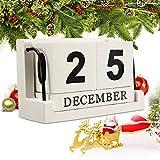 Jeteven Holz Kalender aus Würfel Dauerkalender Tischkalender Handwerk Weihnachtsgeschenk Gedenktag Babyzimmer Wohnzimmer Dekoration