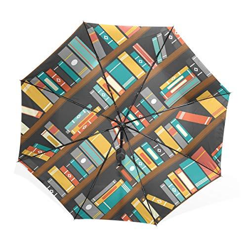 XiangHeFu Regenschirm Bücherregal, automatisches Öffnen 3 Falten, leicht, UV-Schutz -