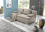 Sofa, Schlafsofa, beige, Nosagfederung mit Federkern, Inside-Boxspringverfahren, 2 Rücken- und 2 Armlehnkissen, Liegefläche:ca.160x200cm