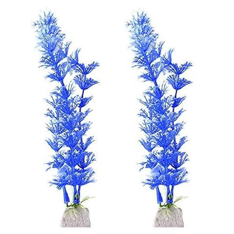 DealMux Kunststoff Aquarium Aquarium künstliche Pflanze Baum Dekoration Ornament 2 PCS Blue