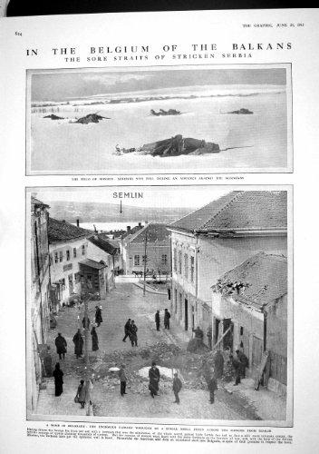 Old Original Antik viktorianischen Print 1915Serbische Soldaten Krieg Balkan Belgrad Flandern 824M191