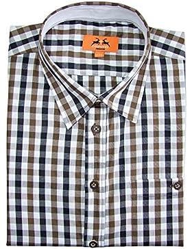 Maddox Slim Fit Trachtenhemd Ludwig - Braun Kariert - Herrenhemd Oberhemd zur Lederhose