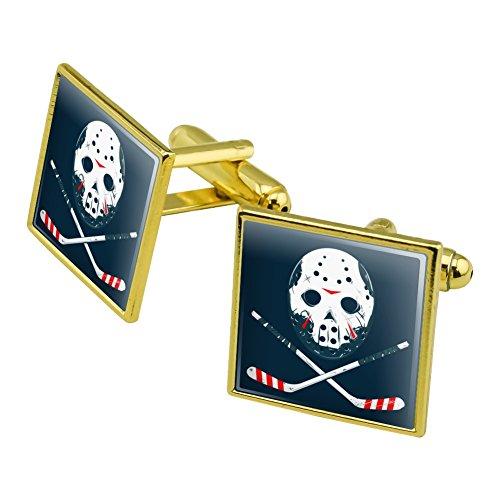 Grafiken und mehr Hockey Maske Totenkopf Stick Manschettenknöpfe, quadratisch-Set Gold Farbe
