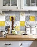 Vinyl Fliesendekor Gelb und Grau Muster Wandaufkleber Küche Renovieren (Packung mit 32) - 20 x 20 cm