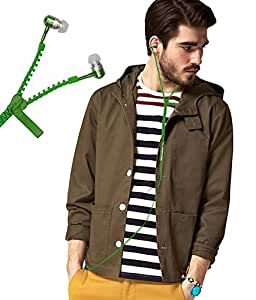 Zipper Style 3.5mm In Ear Bud Earphones Headset Handsfree Compatible For Intex Aqua Classic -Green