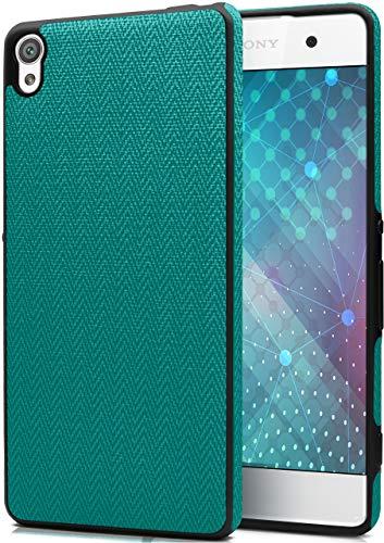 MoEx® Premium Silikonhülle mit Textil Applikationen passend für Sony Xperia XA | Für besten Grip - Flexibel, Schlank und Stylisch, Türkis Schwarz