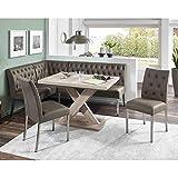 Pharao24 Küchen Sitzecke in Grau und Eiche Sonoma ausziehbarem Tisch