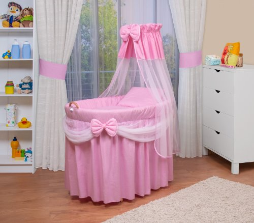 *WALDIN Baby Stubenwagen-Set mit Ausstattung, XXL, Bollerwagen,komplett, 6 Modelle wählbar,rosa/weiß*