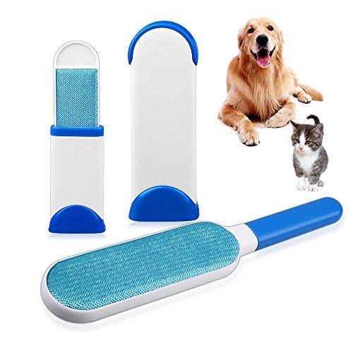Hurricane Pelz Pet Bürste, Pet Hair Fur Remover-Reusable, Home Reinigungsbürste Haustier Bürsten Tierbürste für Katzen, Hund und Möbel Haar (mit Travel Size) (Blau)