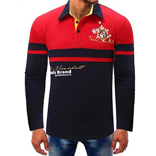 OSYARD Herren Sommer Print-Shirt Langarm Umlegekragen Tops Basic Solide Bluse mit Streifen