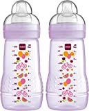 MAM Easy Active Baby Bottle, Medium Flow - 270ml (Pack of 2), Pink