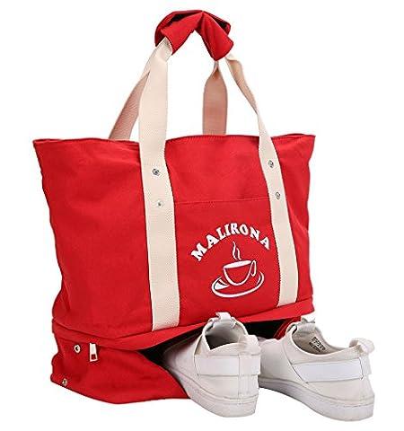 Malirona Grand sac fourre-tout à sac 2-en-1 Sac fourre-tout à la plage avec chaussures Organiseur Canvas Sac de plage (rouge)