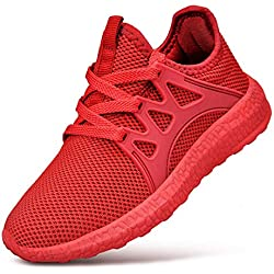 FiBiSonic Herren Damen Laufschuhe Sportschuhe Freizeit Turnschuhe Sneaker Breathable Mesh Leichtgewicht Athletic Schuhe Rot 39