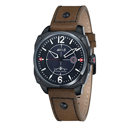 Avi-8 Men's Hawker Hunters Solar Power Quartz Watch with Black Dial Analogue Display and Brown Leather Strap AV-4039-03