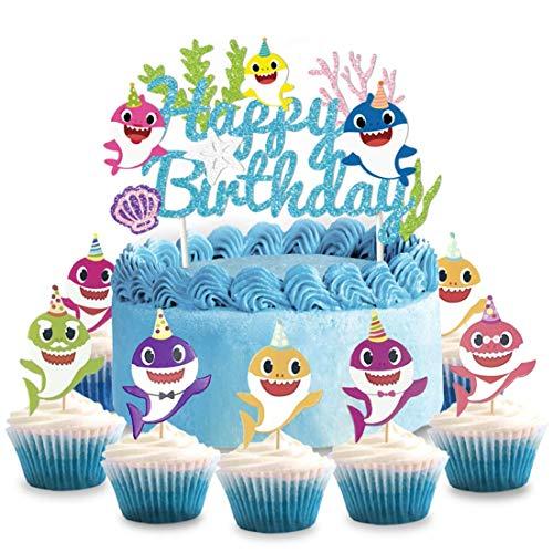 Kreatwow Baby Shark Cake Topper & Cupcake Toppers für Geburtstag Baby Shower Dekorationen liefert (Toppers Shark Cupcake)