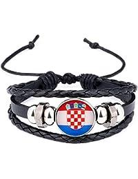 76d216a86184 NiceButy Croacia Bandera Nacional Encanto de la Pulsera de los brazaletes  de Cuero Trenzado