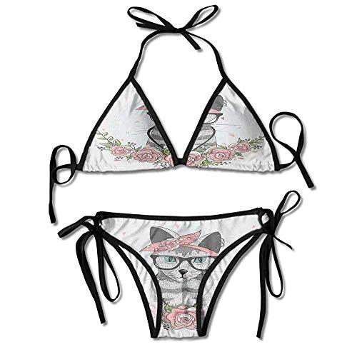 Women's Beachwear Bikini,Spectacles Scarf Necklace Earrings Sexy Bikini 2 Pieces