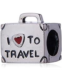 Hoobeads Abalorio para pulsera en plata de ley 925, diseño de I Love To Travel con corazón de esmalte rojo, en forma de maleta