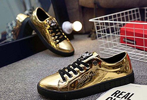 Scarpe casuali delle scarpe da tela traspirabile delle scarpe casuali degli uomini di autunno della molla La chiusura lampo elegante dell'azzurro insacca il piede rotondo Gold