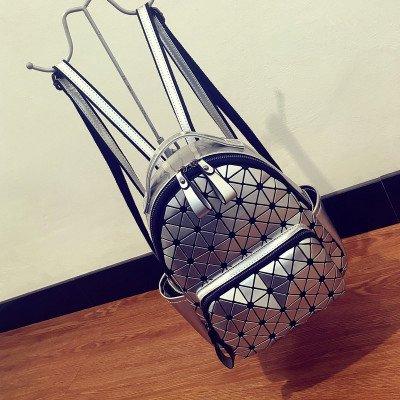 Onorevoli Borsa a tracolla in pelle mini immagine geometrica travel piccolo zaino, argento Silver