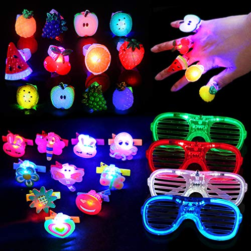 Yuccer 24 Pcs LED Spielwaren Blinkt Party Mitgebsel für Kinder Party Zubehör Einschließlich 14 Fingerring Leuchtringe, 8 LED Haarspangen und 4 Partybrille(Zufällige Farbe) (Sich Sie Ein Nehmen Halloween Bitte)