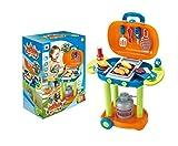 Vinsani 26 PC Blue Light & Sound Children Kids Indoor Outdoor Summer Garden BBQ Barbecue Pretend Play Set with Portable Stand