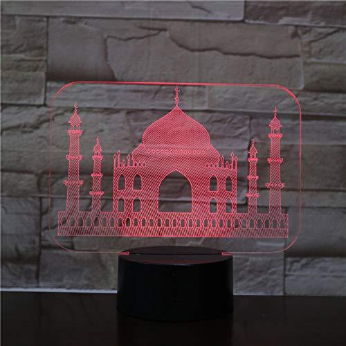 en Taj Mahal Led Nachtlichter 3D Illusion 7 Farbe Berührungssensor Raumdekoration Schlafzimmer Lichter Kinder Kinder Baby Nachtlichter Nacht ()