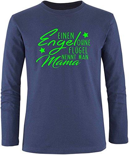 EZYshirt® Ein Engel ohne Flügel nennt man Mama Herren Longsleeve Navy/Neongrün