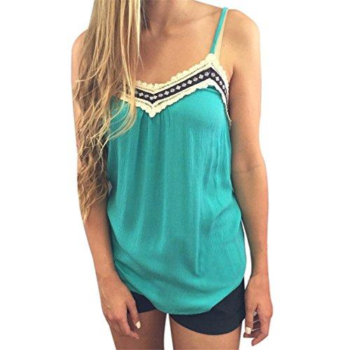 CYBERRY.M Débardeurs Summer Femme Été Sans Manche Bretelle Dentelle T-shirt Blouse Bleu