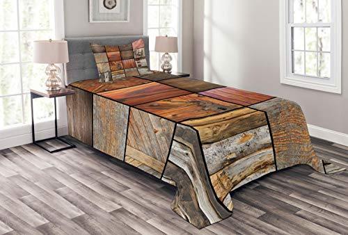 ABAKUHAUS Antiquität Tagesdecke Set, Holz-Holz-Tür-Key, Set mit Kissenbezug Maschienenwaschbar, für Einselbetten 170 x 220 cm, Schokolade Braun -