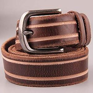 SADUZI Ledergürtel aus echtem Leder, mit Schnalle, Retro-Stil, für Herren, 38 mm