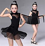 peiwen Bambini Latina Spettacolo di Danza Prestazioni/coreografia/Nero Ballo Latino Esercizio Abbigliamento / 2, B, XXL