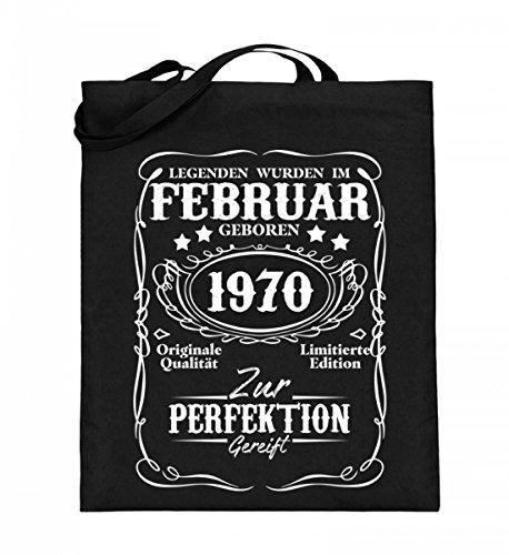 Hochwertiger Jutebeutel (mit langen Henkeln) - Legenden Februar Geburtstag 1970 Schwarz