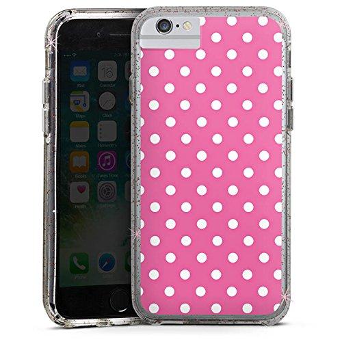 Apple iPhone 6 Bumper Hülle Bumper Case Glitzer Hülle Punkte Pink Polka Bumper Case Glitzer rose gold