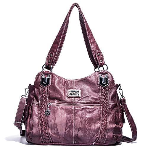 Angel Barcelo Damen Handtasche Geräumige Mehrfach Taschen Damen Umhängetasche Mode PU Einkaufstasche Umhängetasche Designer Handtaschen (Rosa)