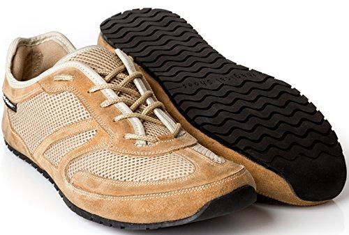 Magical Shoes Explorer Barfußschuhe | Damen | Herren | Jugendliche | Laufschuhe | Zero Drop | Flexibel | Rutschfest, Größen:43/276mm, Farbe:MS Explorer Hot Sun - Beige