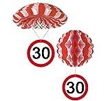 bb10 Schmuck 30.Geburtstag Deko Hängedeko Fallschirm und Ballon mit Zahl 30 Dekoration zum 30er Geburtstag Party oder andere Anlässe
