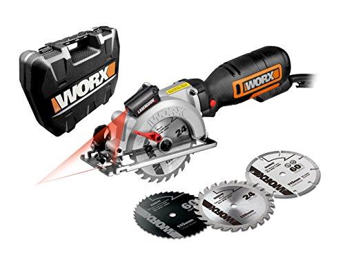 Worx 710W Hand Kreissäge Worxsaw XL, Schnitttiefe 46 mm, Blattdurchmesser 115 mm bis 120 mm, Blattbohrung 9,5 mm, WX427, Schwarz