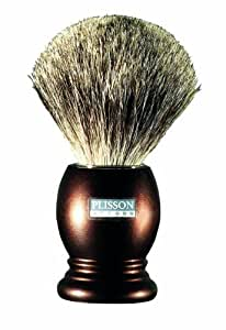 Plissons 955805 Shaving Brush - Size 12 - Chocolate-Coloured Handle with Pure Grey Bristles by Plisson