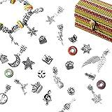 Kit Artesanía DIY Hacer Pulseras con Colgantes Europeo Set Regalo Joyería Cadena de Serpiente Plateada Abalorios Niñas Adolescentes