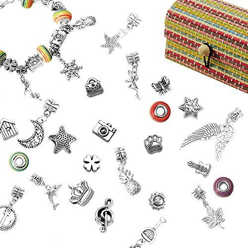 LEBENSWERT Charm Armband Kit DIY Handwerk Europäische Perle Anhänger Kette Silber überzogene Kette Schmuck Geschenk Set für Mädchen Teens (Armband Charms Für)
