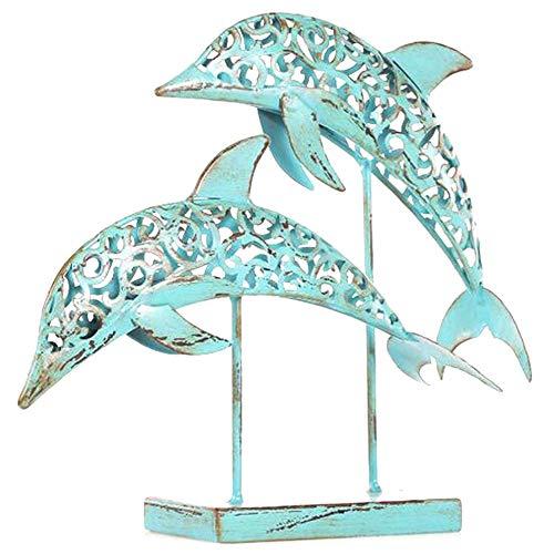 Kreative Kostüm Handgemachte - DDCYY Metall Skulptur, Handgemachte Statue, Delphin Skulptur, Paar Statue, Geeignet FüR Wohnzimmer, BüRo, Gedenkgeschenk (30X8X27 cm)