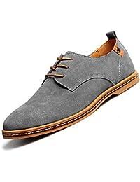 Gleader NUEVOS zapatos de gamuza de cuero de estilo europeo oxfords de los hombres casuales Gris(tamano 41)