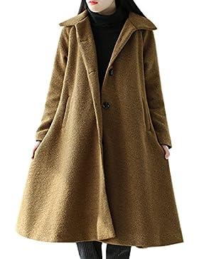 Youlee Mujeres Invierno Otoño A-line abrigo de un solo pecho Abrigos de lana