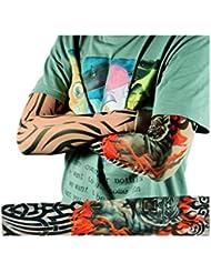 Demarkt 6 pièces Manche Manchette Bras Faux Tatouage Tatoo Collant Extension Nylon Sleeve