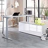 Maja eDJUST elektrisch höhenverstellbarer Schreibtisch 135*160 cm in Platingrau / Lack weiß spiegelglanz