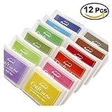 ROSENICE Tinta almohadillas sello cojines gigante varios colores bricolaje bricolaje Ink Pad Set (paquete de 12)